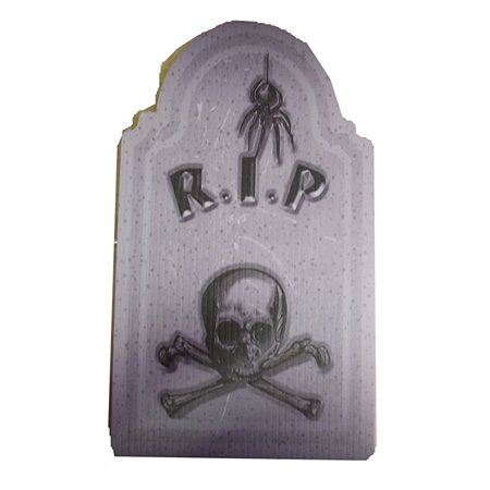 aahs engraving halloween small tombstone prop rip spider and skull