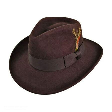 Ford Crushable Wool Felt Fedora Hat - XL - Brown