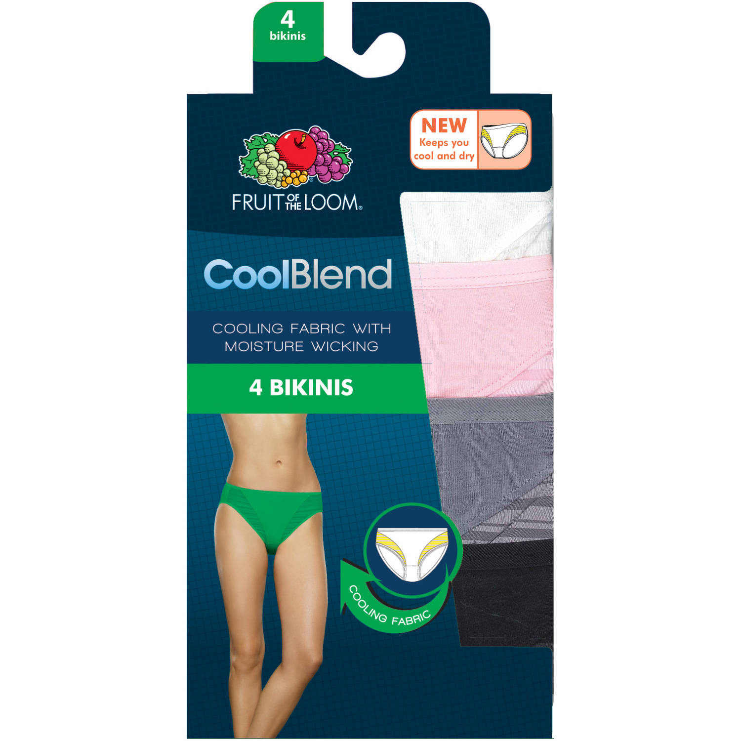 Fruit of the Loom Ladies' CoolBlend Bikinis, 4-pack Panties