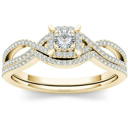 1/3 Carat T.W. Diamond Cluster Double Halo 14kt Yellow Gold Engagement Ring Set Tension Set Yellow Ring