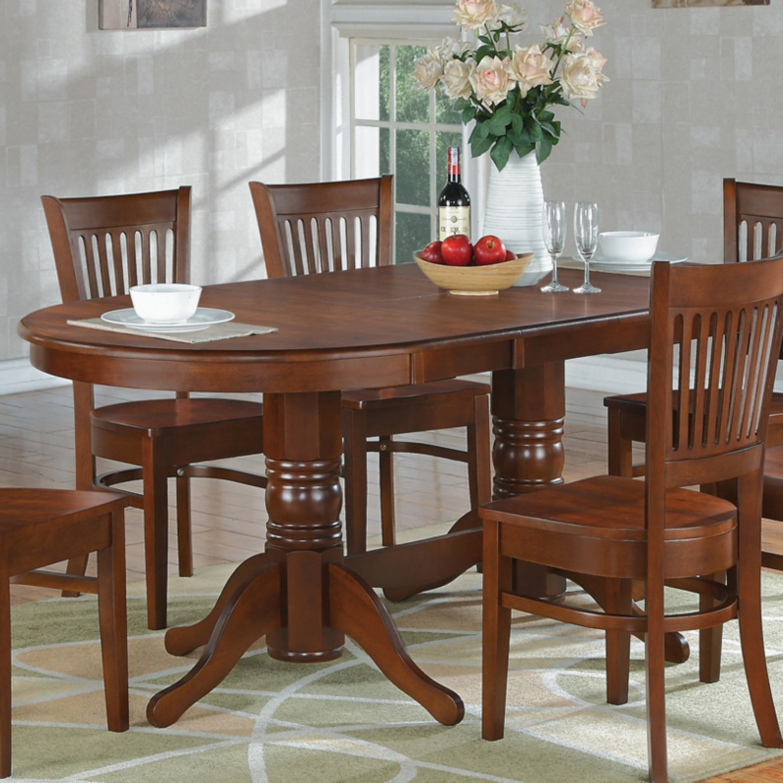 East West Furniture 59-76 Inch Vancouver Double Pedestal Oval Dining Table with Butterfly Leaf
