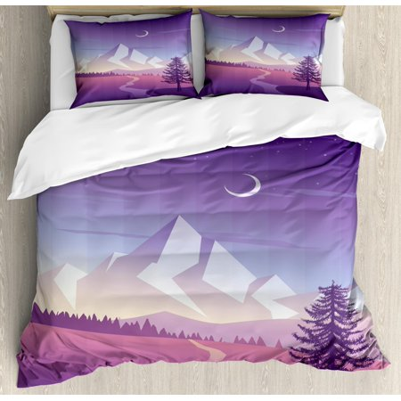 Northwoods Duvet Cover Set Queen Size, Mountain Scenery with Lonely Pine Tree River and Hills at the Back, Decorative 3 Piece Bedding Set with 2 Pillow Shams, Violet Pink Pale Grey, by (One Tree Hill River Court Pieces For Sale)