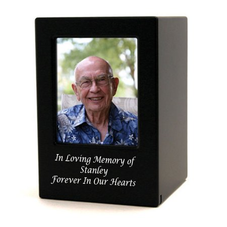 Wood Memorial Urn For Ashes - Large 200 Pounds - Modern Black Photo Frame - Engraving Sold (Picture Perfect Pet Urn)