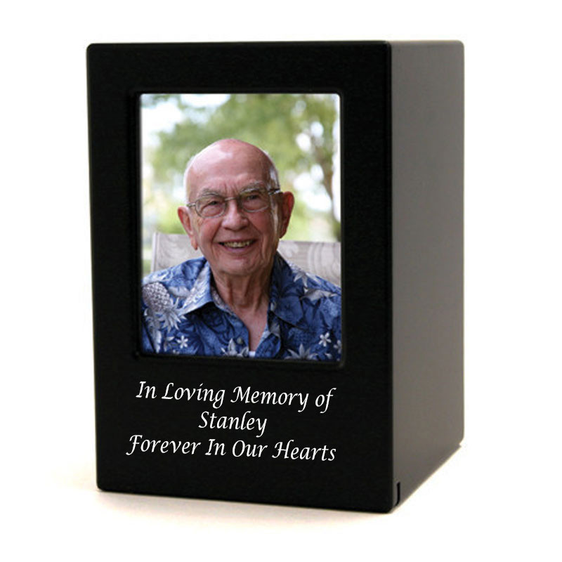 Wood Memorial Urn For Ashes - Large 200 Pounds - Modern Black Photo Frame - Engraving Sold Separately