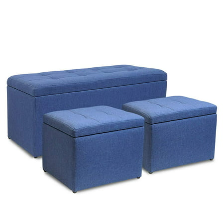 magshion rectangular storage ottoman bench tufted footrest with cube ottomans set of 3 linen. Black Bedroom Furniture Sets. Home Design Ideas
