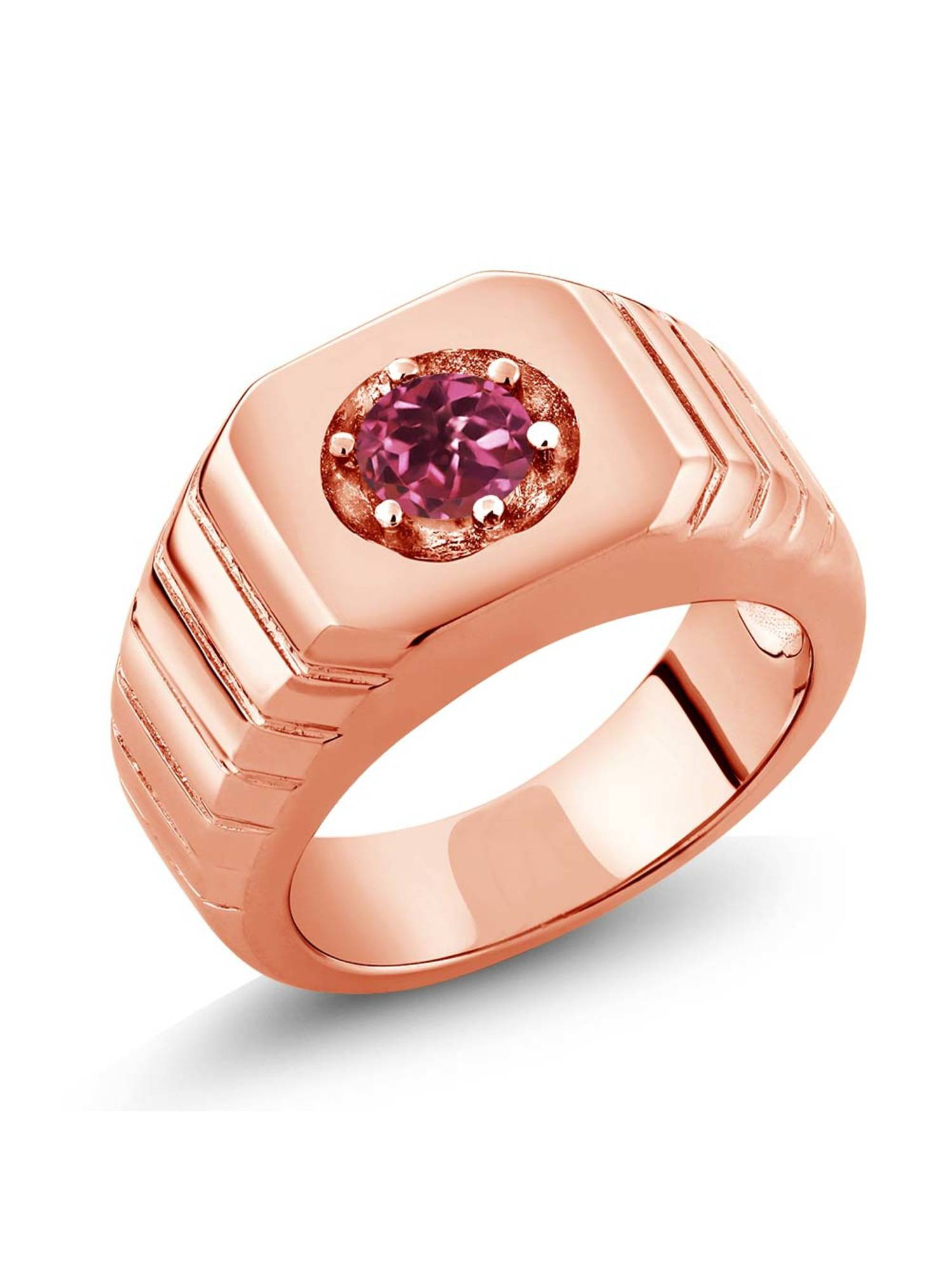 0.50 Ct Pink AAA Tourmaline AAA 18K Rose Gold Plated Silver Men's Solitaire Ring by