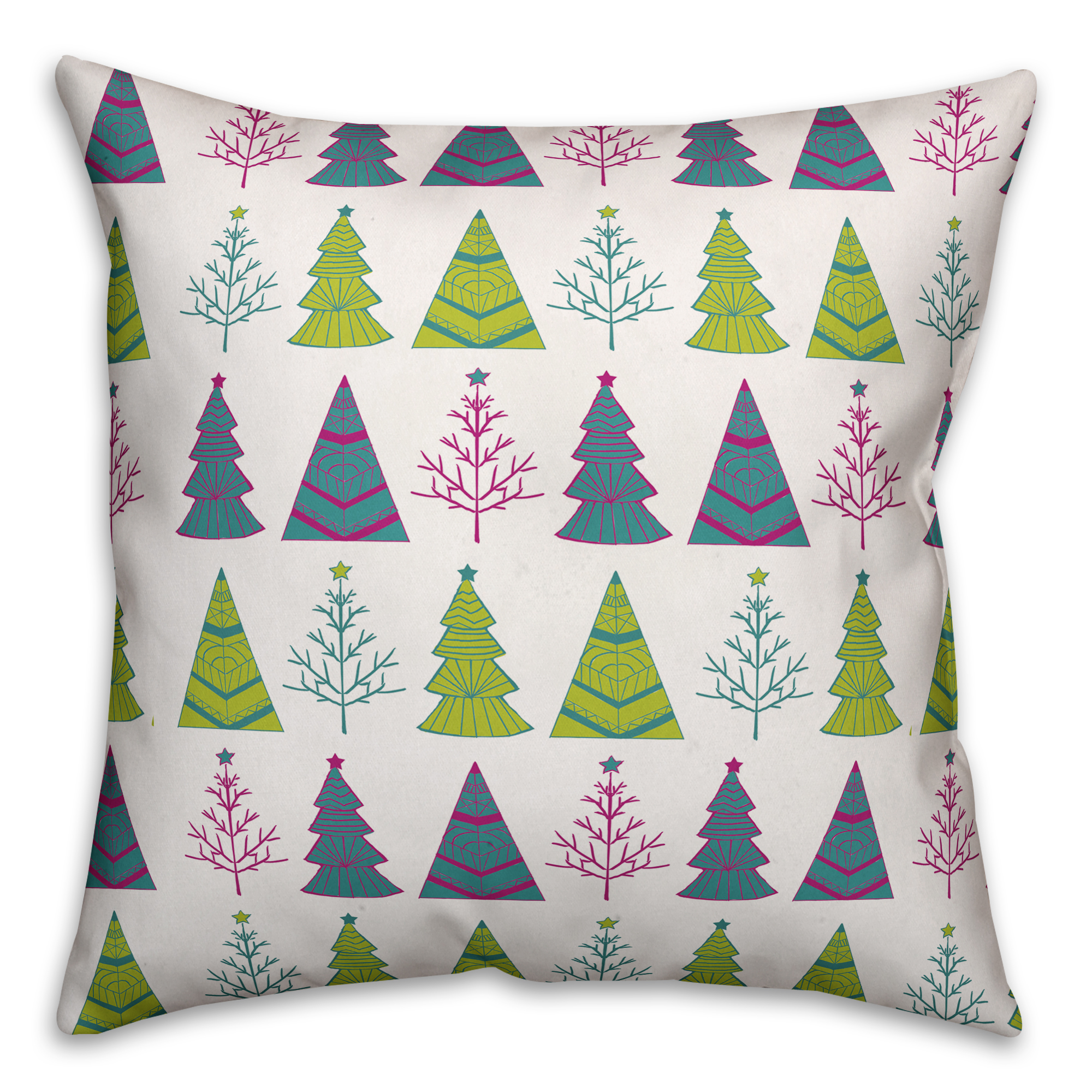 Christmas Tree Pattern 20x20 Spun Poly Pillow