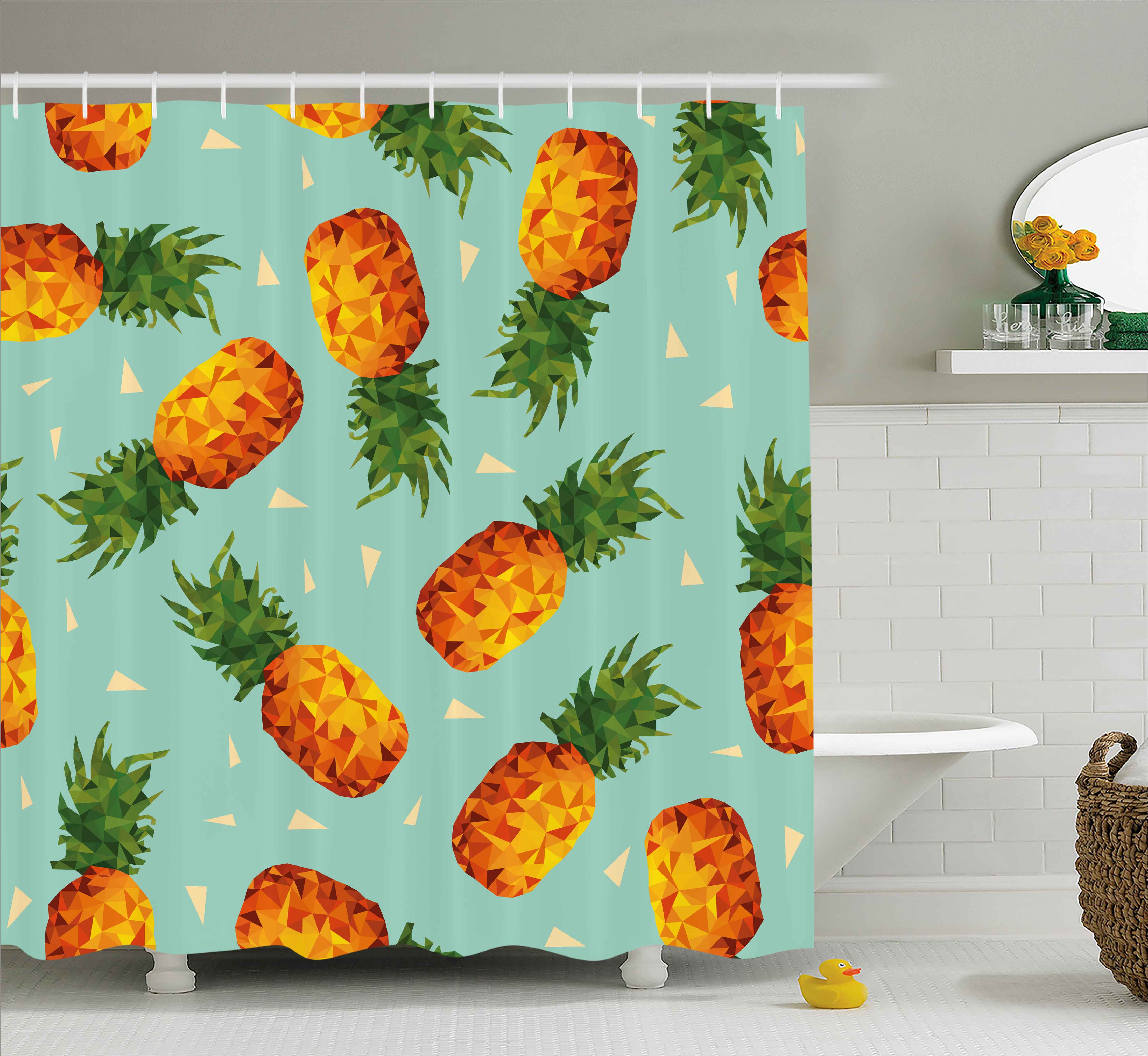 Retro Shower Curtain, Poly Style Pineapples Motif Vintage Beach Summer Modern Illustration, Fabric Bathroom Set with Hooks, 69W X 84L Inches Extra Long, Seafoam Olive Green Orange, by Ambesonne