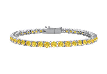 925 Sterling Silver Yellow Created Sapphire Prong Set 4.00 CT TGW Tennis Bracelet by Love Bright