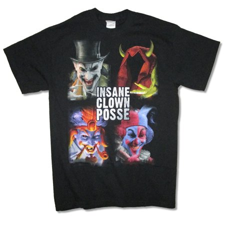 Insane Clown Posse Blocks Portraits Juggalo Black T Shirt ICP - Juggalo Halloween