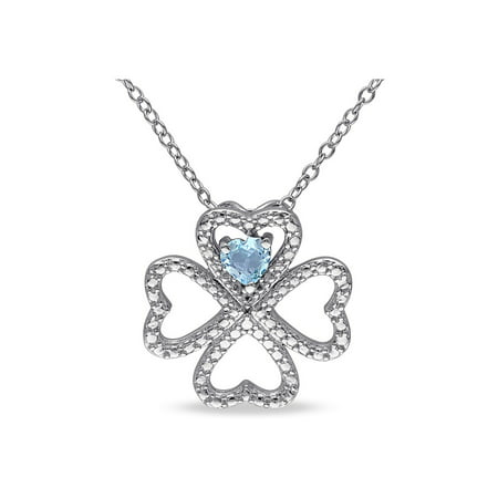 Sky Blue Topaz Heart Clover Pendant Necklace 1/4 Carat (ctw) with Chain in Sterling Silver - image 3 de 3