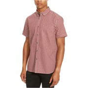 Kenneth Cole Mens Basford Check SS Button Up Shirt, red, Small