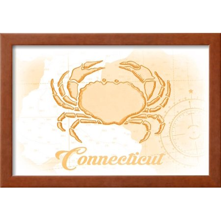 Connecticut - Crab - Yellow - Coastal Icon Framed Print Wall Art By ...