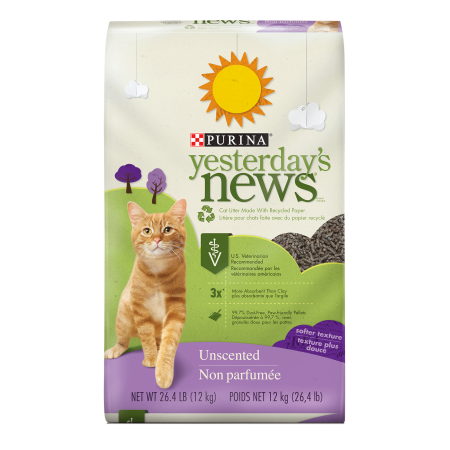 Purina Yesterday's News Unscented Softer Texture Cat Litter, 26.4-lb