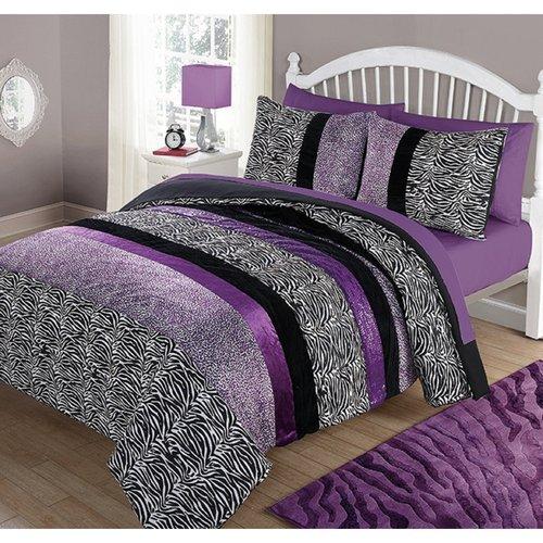 your zone purple pieced animal comforter set, full/queen