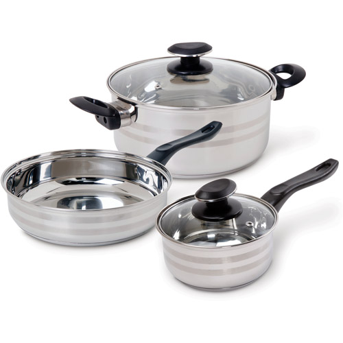 Gibson Home Manta 5-Piece Cookware Set, Stainless Steel