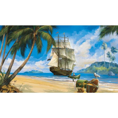 RoomMates MP4942M Pirate Chair Rail Prepasted Mural 6-Foot x 10.5-Foot Ultra-strippable