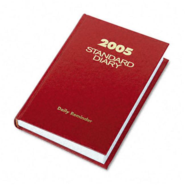 At-A-Glance SD38713 Standard Diary Brand Hardbound Daily Reminder Book  Red  5 x 7-1/2