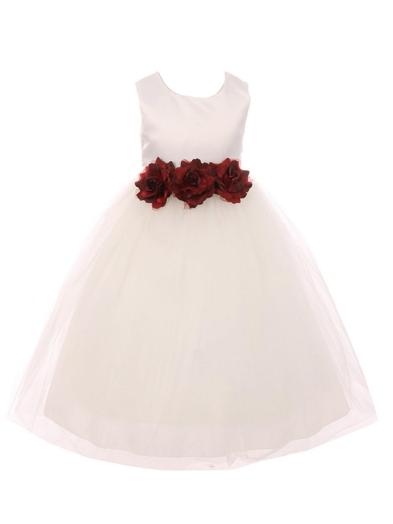 Kids Dream Little Girls Ivory Burgundy Floral Satin Flower Girl Dress