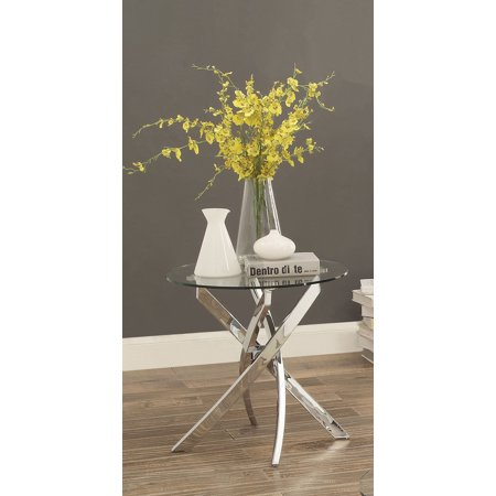 Furniture of America Gisela Contemporary End Table, Chrome