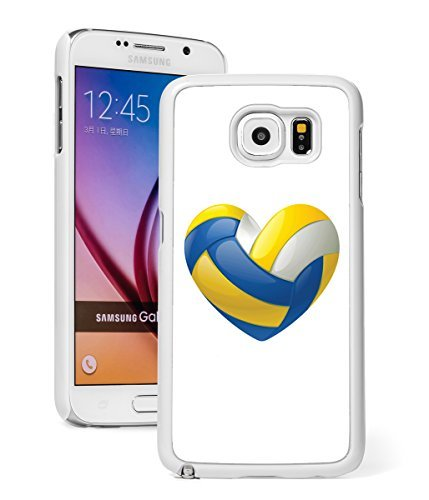 Samsung Galaxy Note 5 Hard Back Case Cover Blue Gold Heart Volleyball (White)