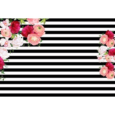 GreenDecor Polyster 7x5ft Baby birthday banner backdrop Black nad white stripes backdrop Photography Backdrops Rose Flower Floral Background