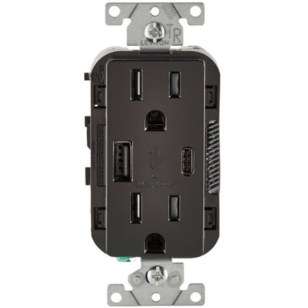 Leviton T5633-E Decora Receptacle & USB Charger, 15 Amp, 125 Volts, Black