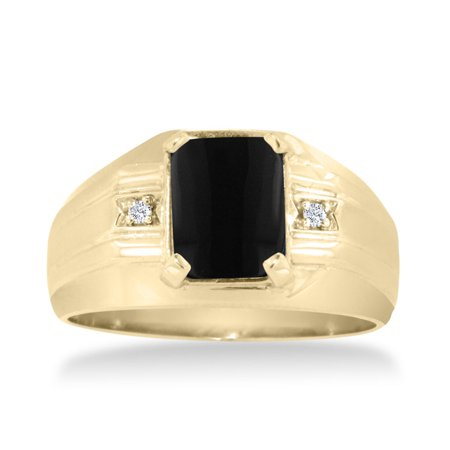 Emerald Cut Black Onyx And Diamond Mens Ring Crafted In Solid 14K Yellow Gold