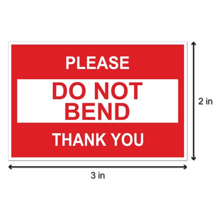 - Do Not Bend Stickers (3 x 2 inch, 300 Stickers per Roll, Red) for Shipping & Mailing