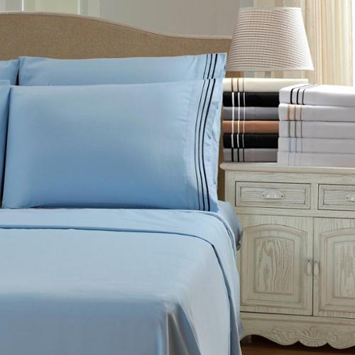 Wrinkle Resistant Embroidered 3-Line Sheet Set with Gift Box Standard Pillowcase (Set of 2) - Ivory/Taupe