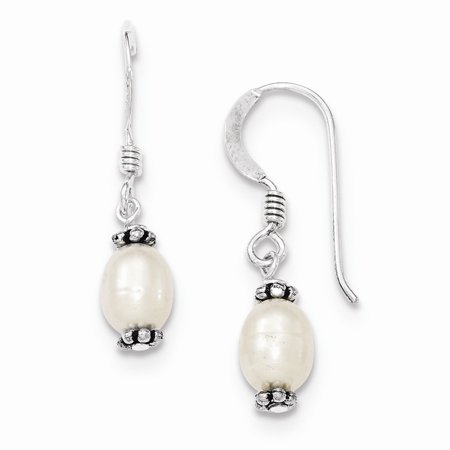 Sterling Silver White Cultured Pearl Antiqued Bead Dangle Earrings ()
