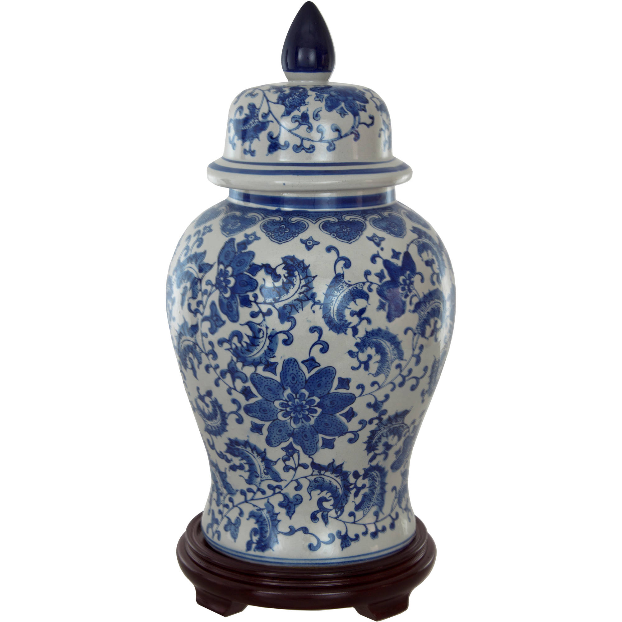 "18"" Floral Blue & White Porcelain Temple Jar by Oriental Furniture"