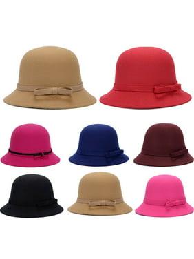 SUNSIOM Womens Floral 1920s Vintage 100% Wool Beret Beanie Cloche Bucket Winter Hat