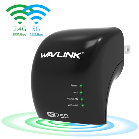 Wavlink Ac750 Dual Band Wireless Wifi Range Extender Repeater  Access Point  Wireless Wi Fi Signal Booster Amplifier  Plug And Play Black