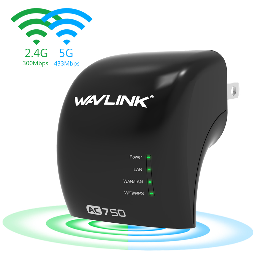 Wavlink AC750 Dual Band WIFI Range Extender/ Access Point/ Wireless Repeater Wi-Fi Signal Booster Amplifier Plug and Play-Black