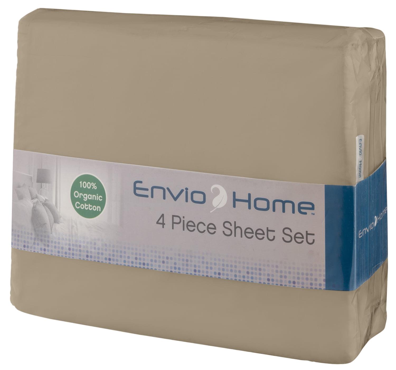Enviohome Gots Certified Organic Cotton Sheet Set 4 Pc Silver Cal King Walmart Com Walmart Com