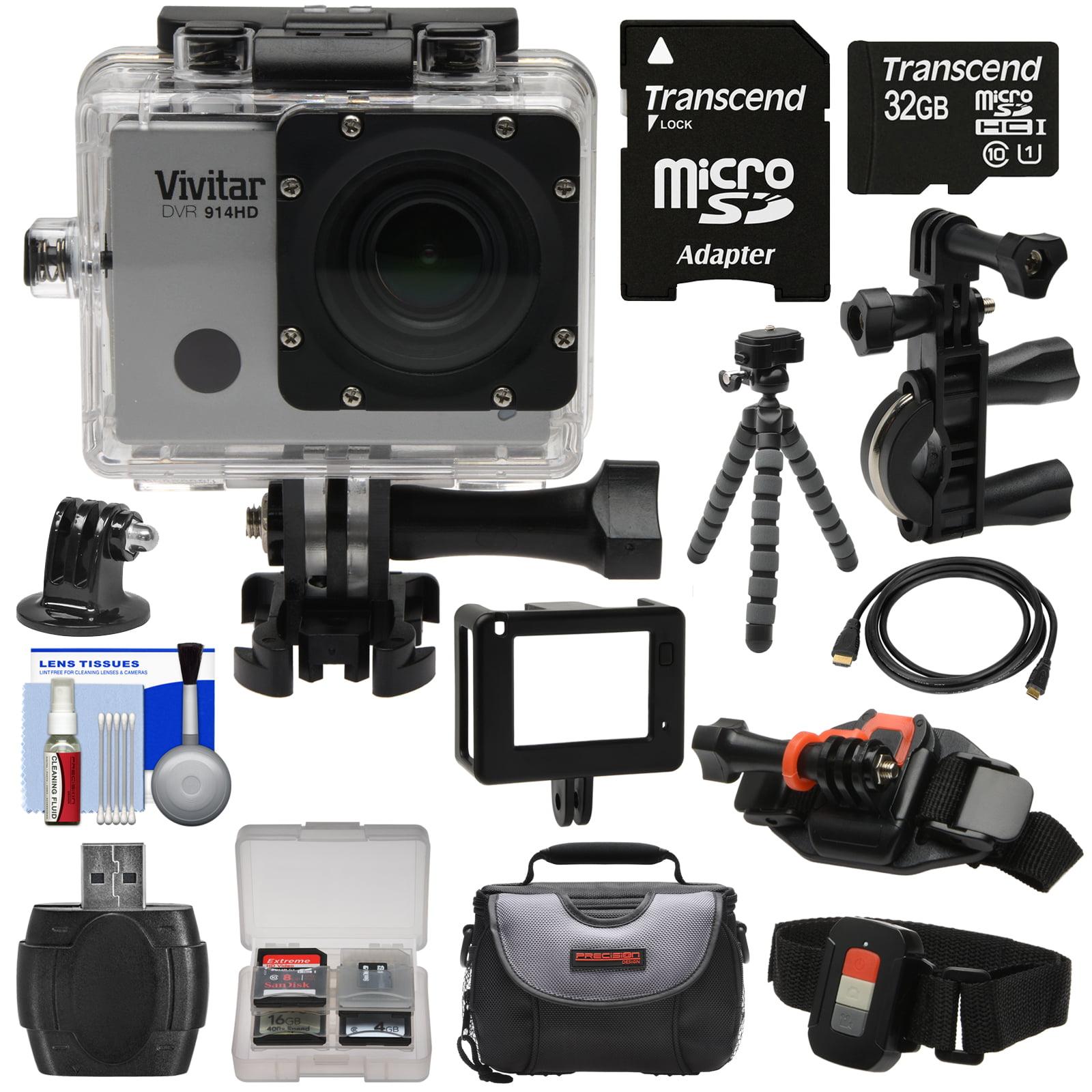Vivitar DVR914HD 1440p HD Wi-Fi Waterproof Action Video Camera Camcorder (Black) + Remote, Vented Helmet & Bike Mounts + 32GB Card + Case + Tripod Kit