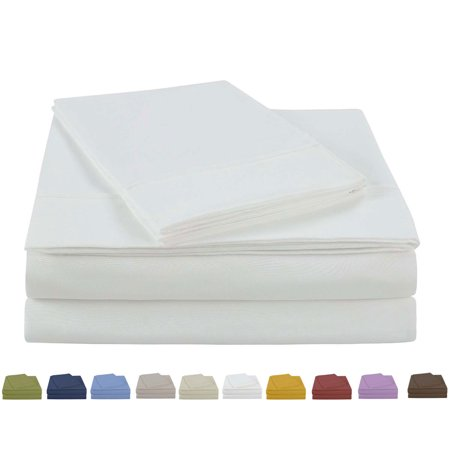 NC Home Fashions Beauty in Basic Solid Color sheet set, Twin, Bight (Vintage Flat Sheet)