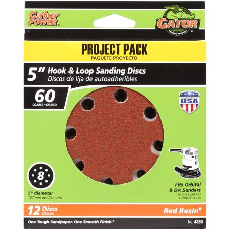 Gator Grit 5-Inch 8-Hole Hook And Loop Sanding Discs, 60 Grit, 12-Pack - Milwaukee Sanding Disc