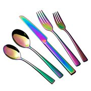 OMGard Flatware Silverware Set Rainbow 20-Piece 18/10 Stainless Steel Utensil Cutlery Dinnerware Service for 4 Colorful Fork Knife Spoon for Kitchen Mirror Finished Dishwasher Safe Unique Multicolor