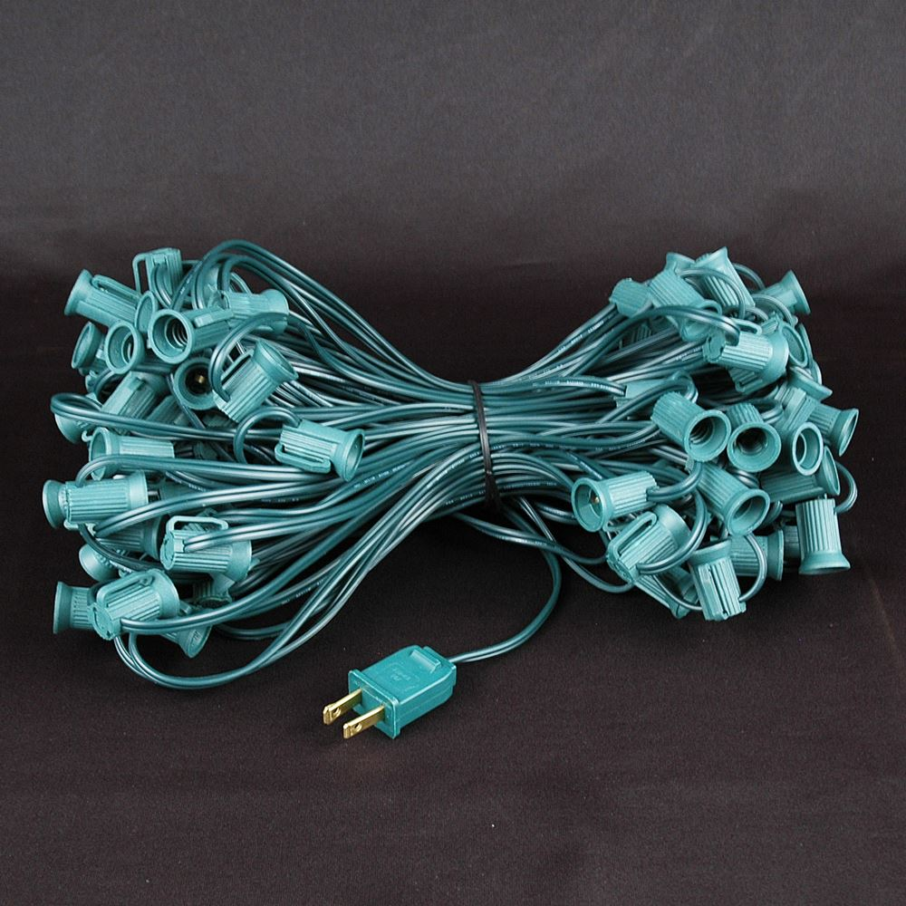 Novelty Lights 100 Foot C7 Outdoor String Light Christmas Stringer - Patio String Lights - Candelabra Base (C7/E12)