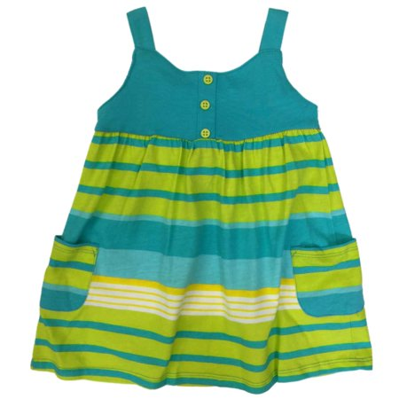 Carters Infant Girls Baby Outfit Blue & Green Striped Dress & Diaper Cover