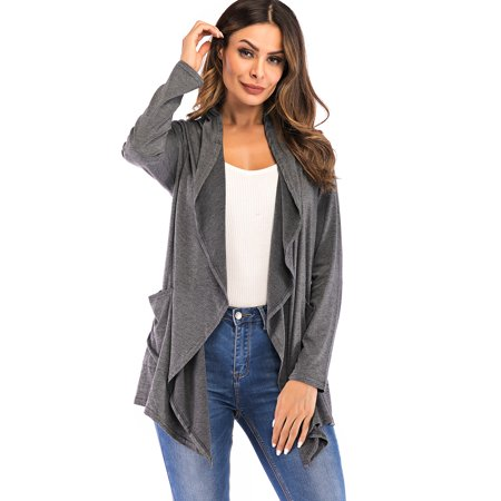 SAYFUT Womens Ruffle Front Cardigan Long Sleeve Solid Open Front Sweater Coat Asymmetric Hem Cardigan Wrap Light/Deep Gray - Pleated Wrap Sweater