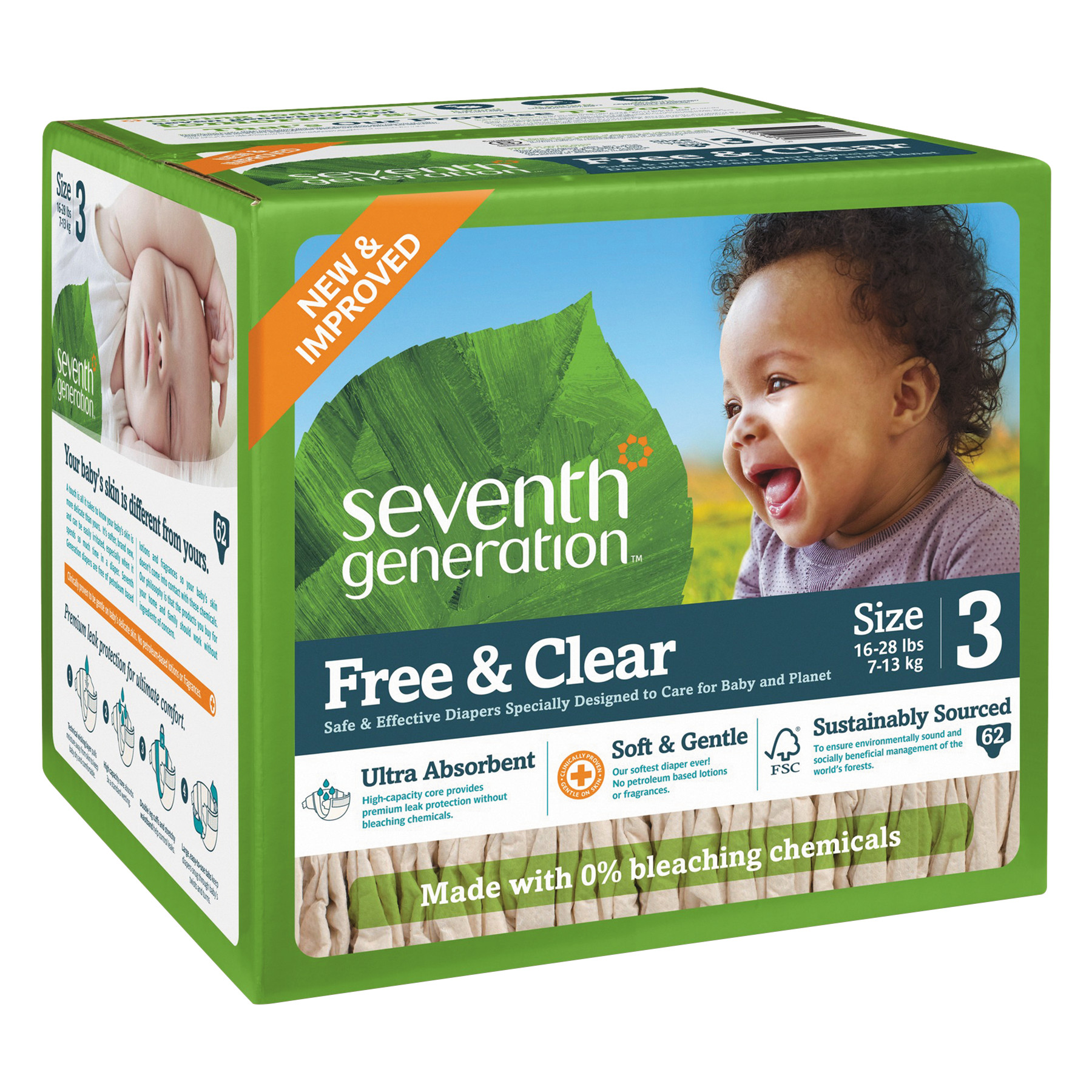 Seventh Generation Free & Clear Diapers, Size 3, 62 Diapers ...