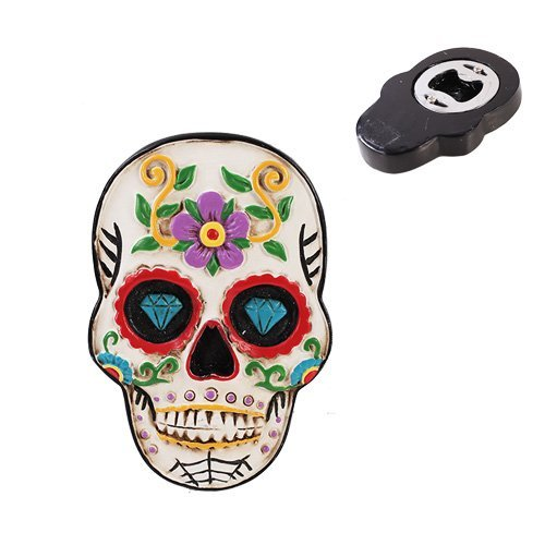 Mens Ladies Halloween Day of the Dead Sugar Skull Bottle Opener Kitchen Decor