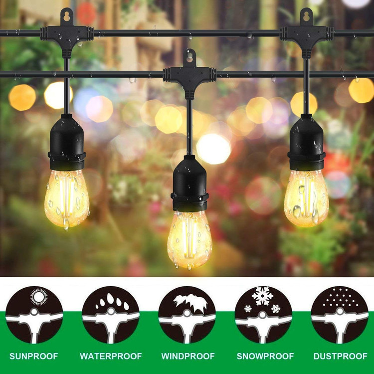 48ft Outdoor String Lights Commercial Great Weatherproof Strand 18 Dimmable  Edison Vintage Bulbs 15 Hanging Sockets