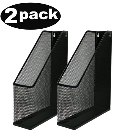 - Ybm Home Black Mesh Steel Wall mount Hanging Desktop Magazine Document Letter File Holder 12 In. H x 10 In. L x 3 In. W 2 Pack