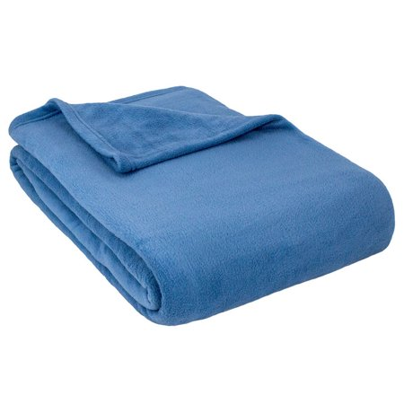 Luxury Chateau Blanket - Cozy Home Alta Luxury Hotel Fleece Anti-Pill Lightweight Washable Blanket-Denim-Full/Queen
