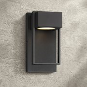 """Possini Euro Design Modern Outdoor Wall Light Fixture LED Textured Black 9 1/2"""" Crystal Diffuser Downlight for Exterior House"""