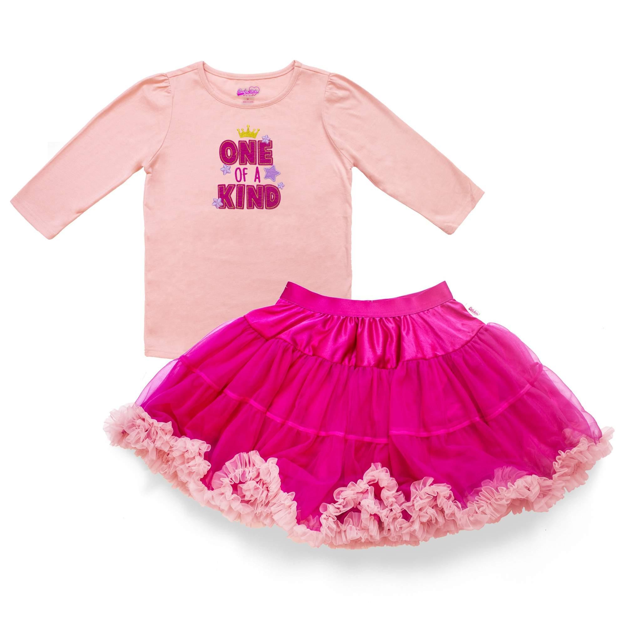 Light Hot Pink Pettiskirt Skirt with Light Pink Ruffles Top 2PC Set Girl 1-8Year